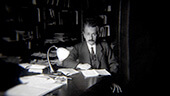 Still image of Albert Einstein in his Berlin office in 1919